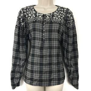 Akemi + Kin Pearl Beaded Grey Plaids Blouse Shirt